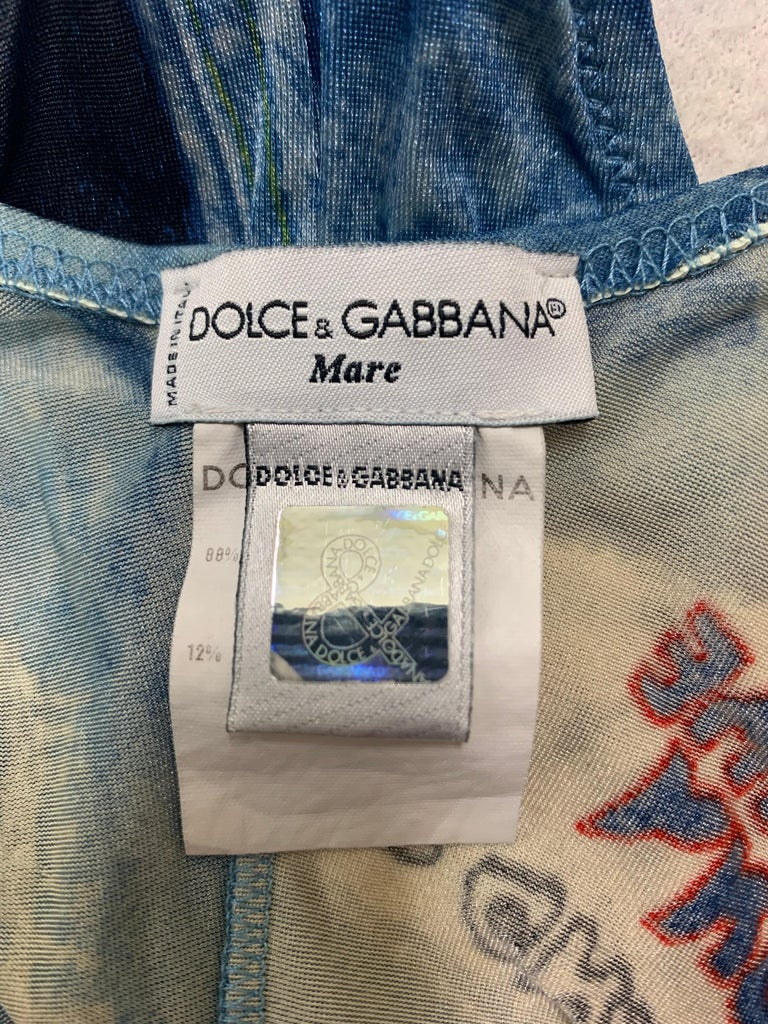 Gray C. S/S 2000 Dolce & Gabbana Sheer Plunging Rockstar ACDC Leather Swimsuit For Sale