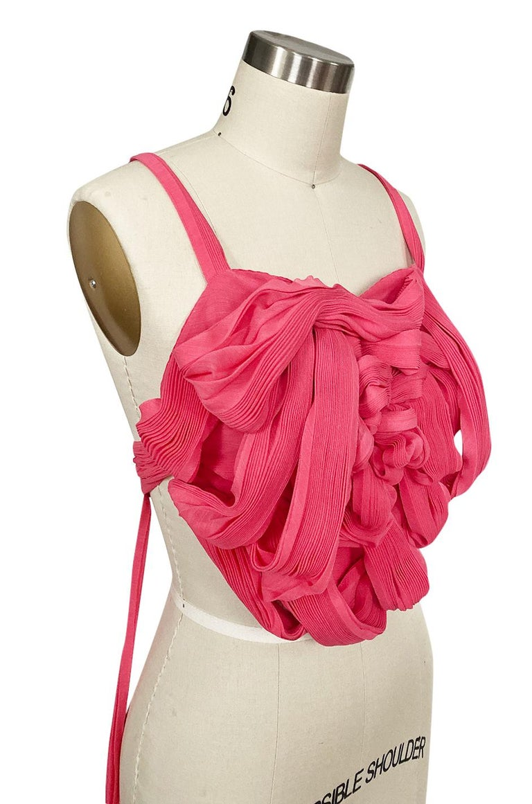 c. Spring 2005 Issey Miyake Vibrant Pink Backless Pleated Origami Flower Top For Sale 3