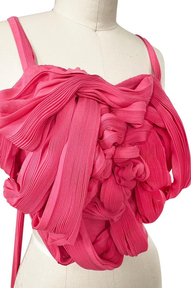 c. Spring 2005 Issey Miyake Vibrant Pink Backless Pleated Origami Flower Top For Sale 4