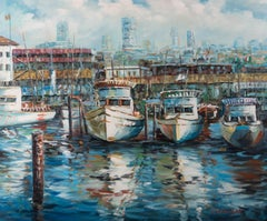 C. Strachan - Contemporary Oil, Boats in a Harbour