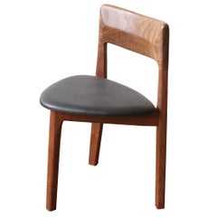 C11 Three-Legged Dining Chair, Handcrafted in Solid Black Walnut and Leather