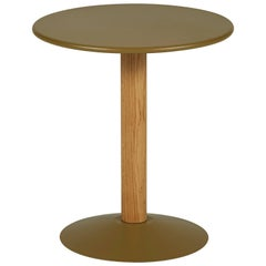 C16 Round Pedestal Table in Khaki with Wood Column by Chantal Andriot & Tolix