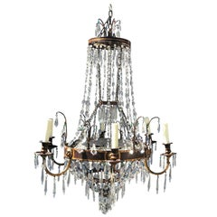 Regency Style Clear and Colored Cut Glass and Gilt Metal Six-Light Chandelier