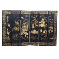 Chinese Export Six-Panel Chinosierie Screen, circa 1830-1860