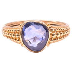C.1830 18K Heart Shaped Natural Sapphire Ring with Gold Beadwork