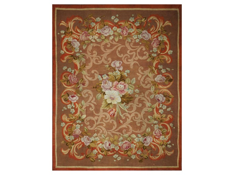 French restoration period handwoven antique Aubusson rug, circa 1830 Material: wool Dimensions: 290 x 240 cm / 9.5 x 7.87 ft  We have an important collection of Aubusson rugs from the 18th-20th century. The style developed in Aubusson is
