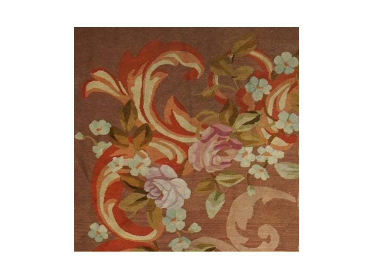 Hand-Woven French Restoration Period Handwoven Antique Aubusson Rug, circa 1830 For Sale