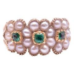 C.1830 Georgian 18K Pearl and Emerald Triple Cluster Ring