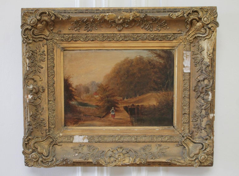 Roberson and Miller oil on canvas Woman walking in the fields, circa 1835-1838. In original giltwood frame with minor loses.