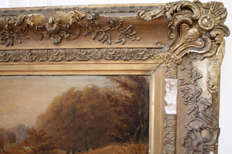Roberson and Miller Oil on Canvas, circa 1835 In Good Condition For Sale In Brea, CA
