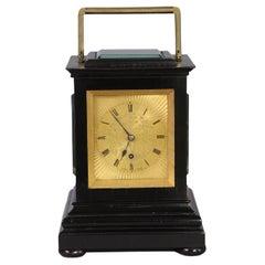 c.1840 Ebonized Travel Clock by Purvis