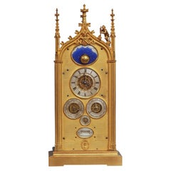 c.1850 French Multi-Dial Perpetual Calendar Mantle Clock with Rotating Moon
