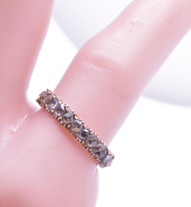 Rose Cut Rose Diamond Eternity Band Ring, circa 1855 For Sale