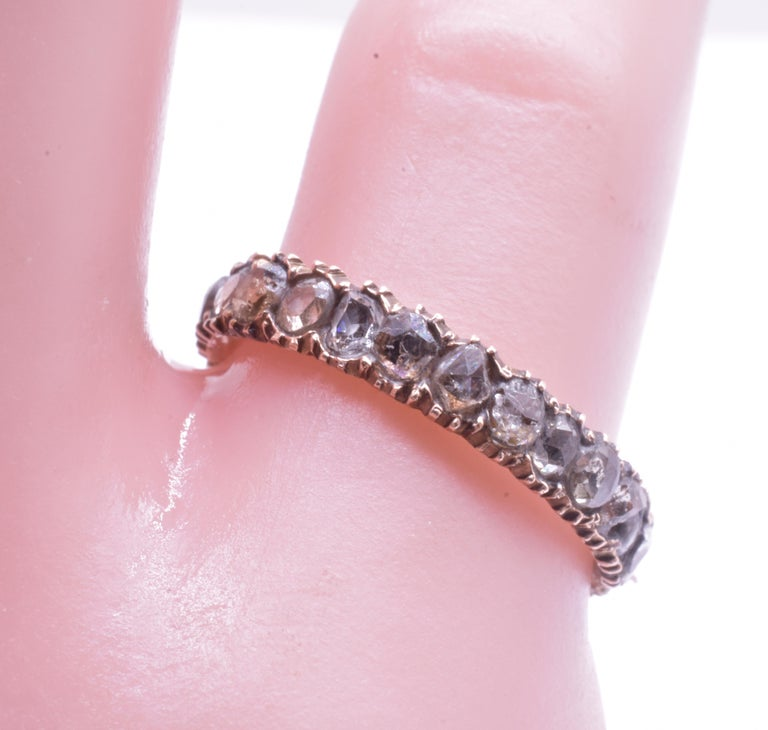 Rose Diamond Eternity Band Ring, circa 1855 In Excellent Condition For Sale In Baltimore, MD