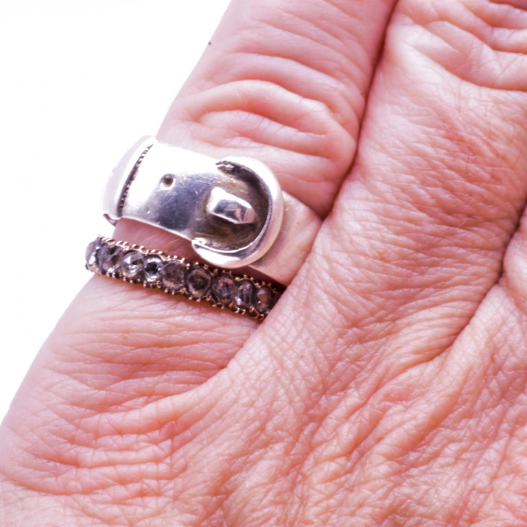 Women's Rose Diamond Eternity Band Ring, circa 1855 For Sale