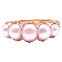 C1860 Five Stone Half Hoop Natural Pearl Ring 18K