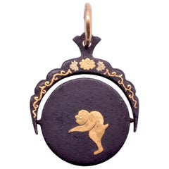 C1890 Antique Shakudo Swivel Pendant with Images of a Frolicking Baboon