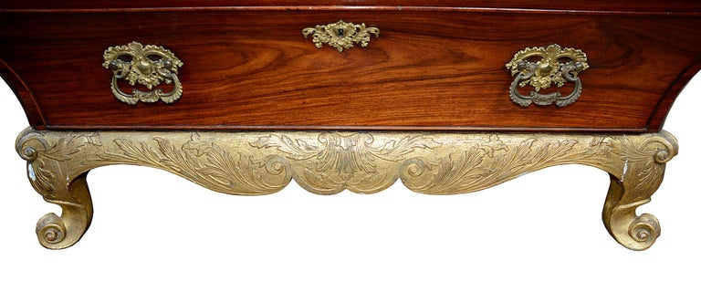18th Century Scandanvian Rococo Giltwood and Walnut Bureau Bookcase For Sale 2