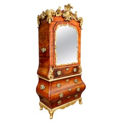 18th Century Scandanvian Rococo Giltwood and Walnut Bureau Bookcase
