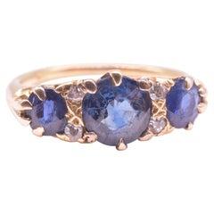 C.1900 18K Diamond and Sapphire 7 Stone Half Hoop Ring