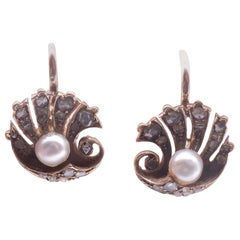 18 Karat Rose Diamond Pearl Clam Shell Earrings, circa 1900