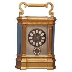 c.1900 French Bow Sided Carriage Clock with Limoges Dial