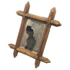 c.1900 Stained Pine Tramp Art Wall Mirror