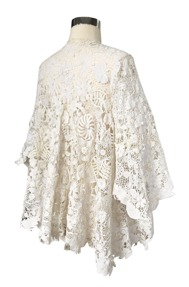 Fine examples of Irish crochet lace are always highly sought after and this one is exceptional. The jacket has its own innate weight to it and you can instantly tell that you are wearing something that was meticulously made by hand. The shape of the