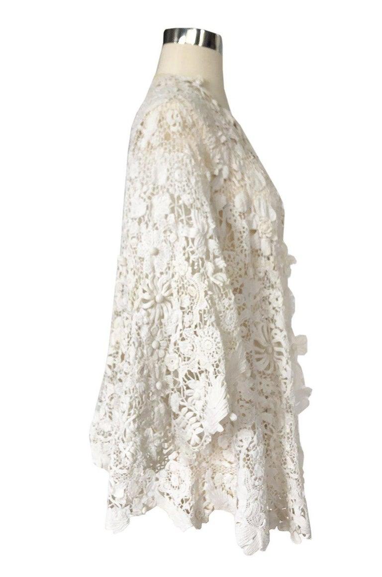 Gray c.1900s Antique Handmade White 3D Floral Irish Crochet Lace Jacket For Sale