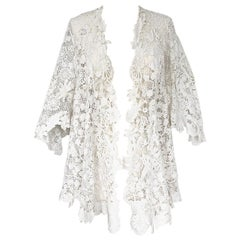 c.1900s Antique Handmade White 3D Floral Irish Crochet Lace Jacket