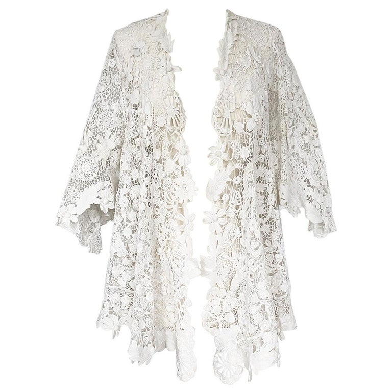 c.1900s Antique Handmade White 3D Floral Irish Crochet Lace Jacket For Sale