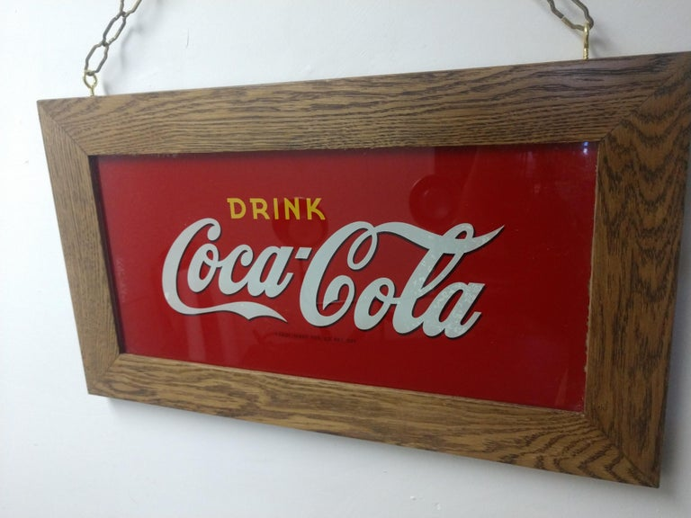 Reverse Painted Glass Drink Coca Cola Sign, circa 1920 In Good Condition For Sale In Port Jervis, NY