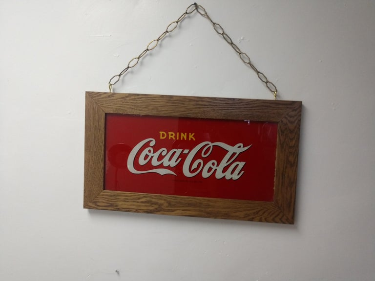 Early 20th Century Reverse Painted Glass Drink Coca Cola Sign, circa 1920 For Sale