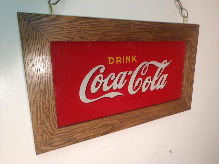 Reverse Painted Glass Drink Coca Cola Sign, circa 1920 For Sale 1