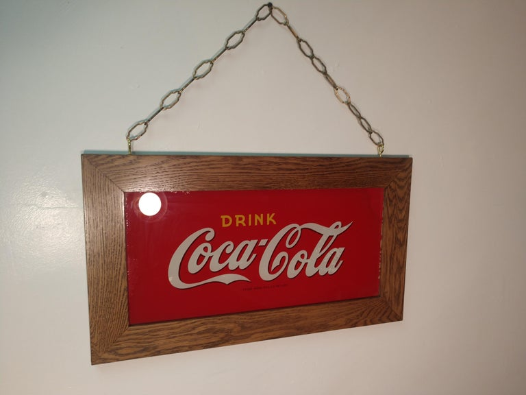 Reverse Painted Glass Drink Coca Cola Sign, circa 1920 For Sale 2