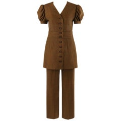 c.1930's COUTURE 2 Pc Brown Wool Tweed Check Balloon Sleeve Jacket Pant Suit Set