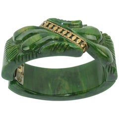 C.1940 Carved Green Bakelite Clamper Bracelet With Gold Details