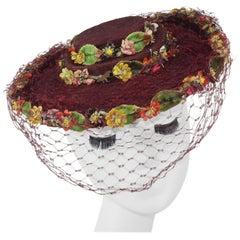 C.1940 Ella Buchanan Gunn Straw Tilt Hat With Flowers & Netting