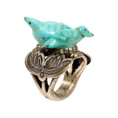 c.1940 Leekya Duyuse Carved Turquoise and Silver Bird Ring