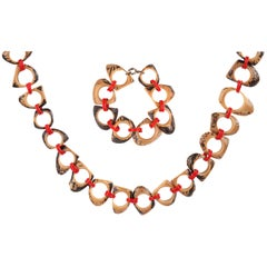 c.1940s-1950s Abstract Sculpted Carved Wood Plastic Chain Necklace Bracelet Set