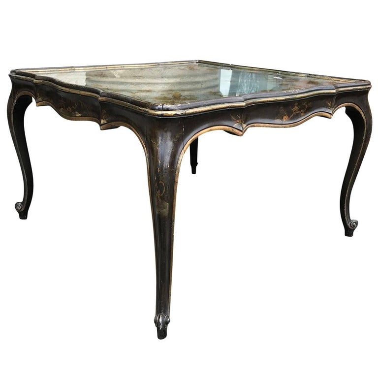 Italian Eglomise Square Coffee Table with Chinoiserie Top, circa 1940s
