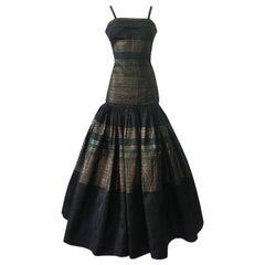 c.1945 Gilbert Adrian Original Couture Metallic Silk Full Skirt & Top Dress