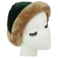 a481629beb2 C.1950 Green Velvet Hat With Mouton Trim