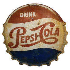 C1950 Painted Tin Drink Pepsi Cola Sign