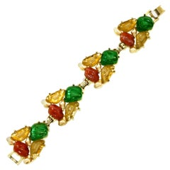 c1950's Large Mixed Stone Bracelet by Bergere