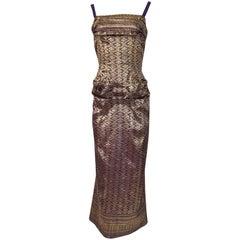 c.1955 Maggie Rouff Haute Couture Gold & Purple Trained Dress