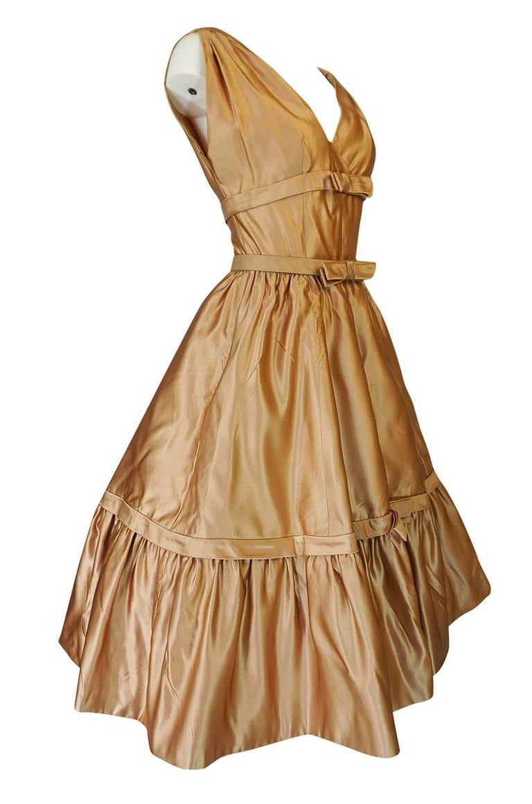 Brown Christian Dior Demi-Couture Gold Bow Detailed Silk Dress, 1957 For Sale