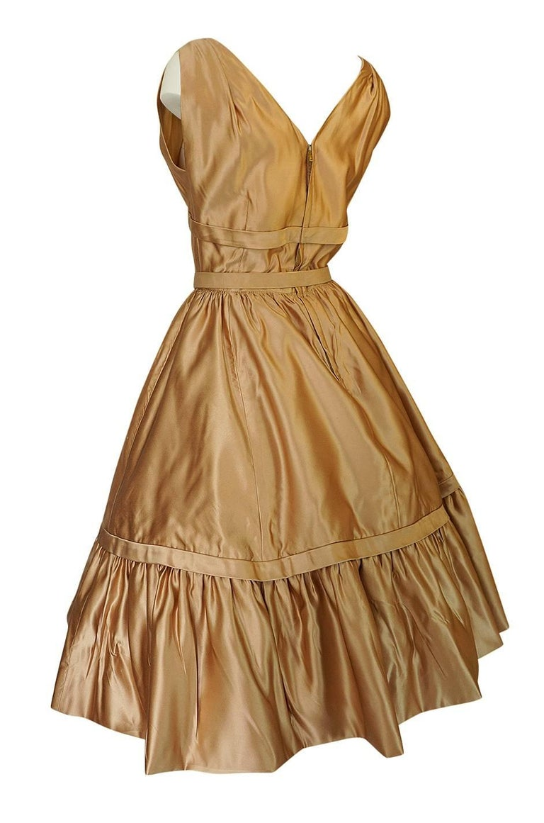 Women's Christian Dior Demi-Couture Gold Bow Detailed Silk Dress, 1957 For Sale
