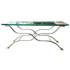French Maison Jansen Brass and Steel Coffee Table with Hoof Feet, circa 1960
