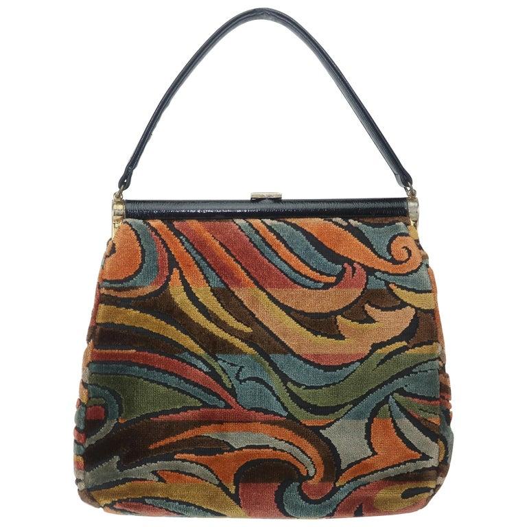 c69e8bd8b C.1960 Julius Resnick Mod Velvet Carpetbag Handbag at 1stdibs